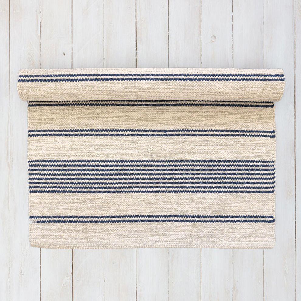 Striped Navy Blue And Off White Floor Runner Scandinavian Rug