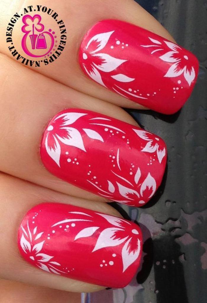 deco ongles hibiscus