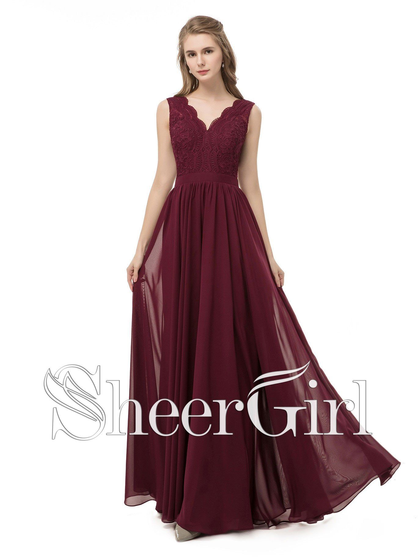 Lace and chiffon burgundy bridesmaid dresseslong simple prom
