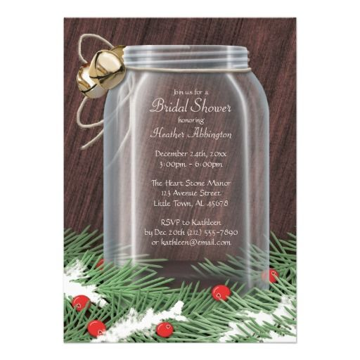 Rustic Winter Mason Jar Bridal Shower Invitations