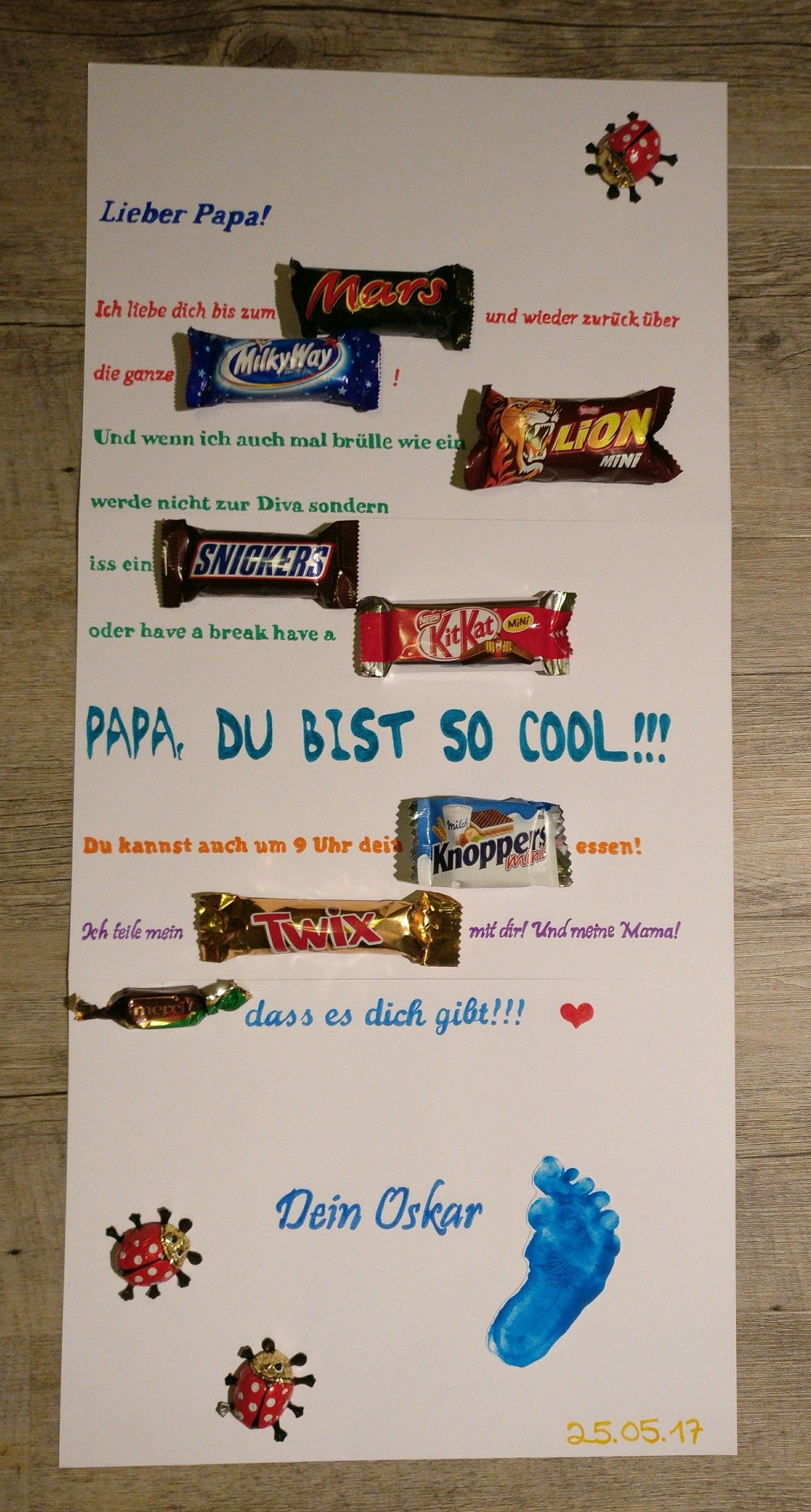 Vatertag Mars Milky Way Lion Snickers Kit Kat Knoppers Twix Merci Schokoriegel Plakat Father s Day Geschenk