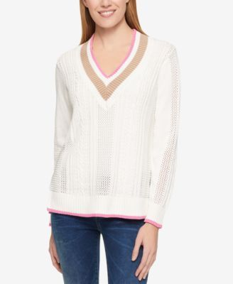 TOMMY HILFIGER Tommy Hilfiger Cotton Mixed-Knit Cricket Sweater, Only At Macy'S. #tommyhilfiger #cloth # sweaters