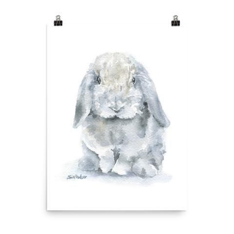 Mini Lop Rabbit Watercolor