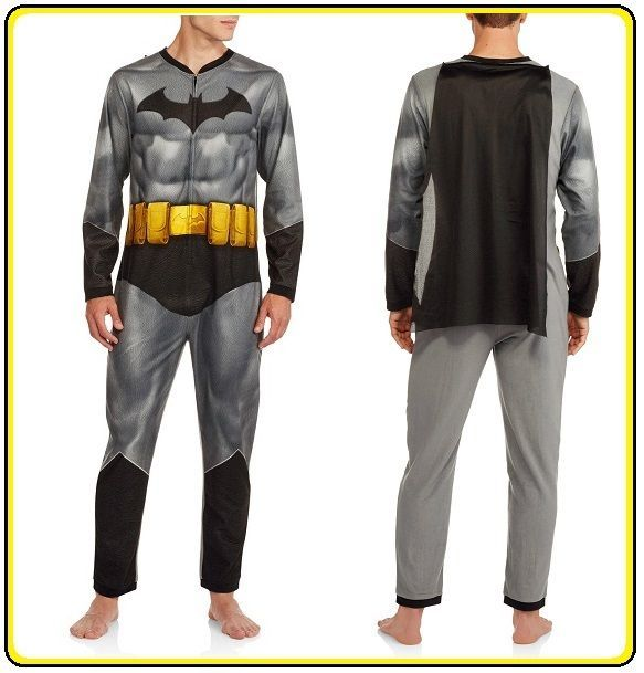b598829f5a65 NEW! Mens XL BATMAN MUSCULAR UNION SUIT PAJAMAs w CAPE costume ...