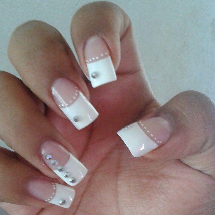 uñasdecoradas punta blanca | Peinados | Pinterest | Peinados