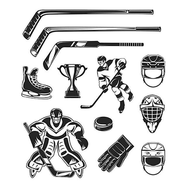 Vector Set Of Black Hockey Icon Hockey Icon Ice Png And Vector With Transparent Background For Free Download Hockey Hockey Birthday Hockey Shirts