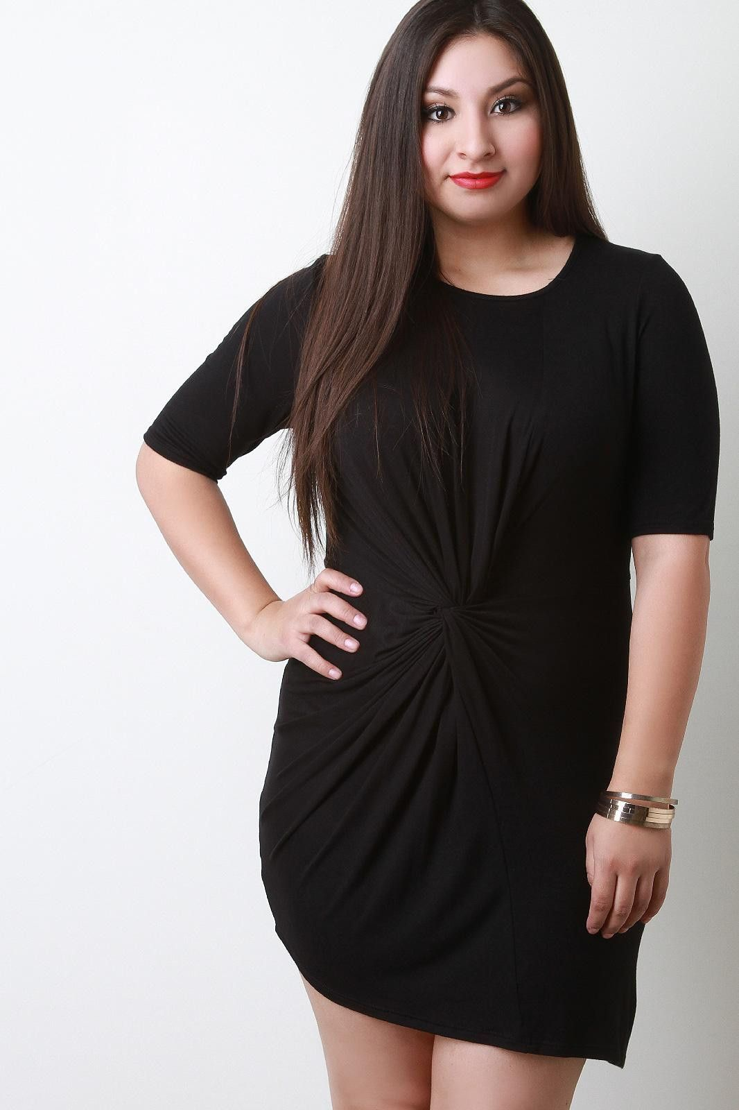 Twisted front elbow sleeves bodycon mini dress products