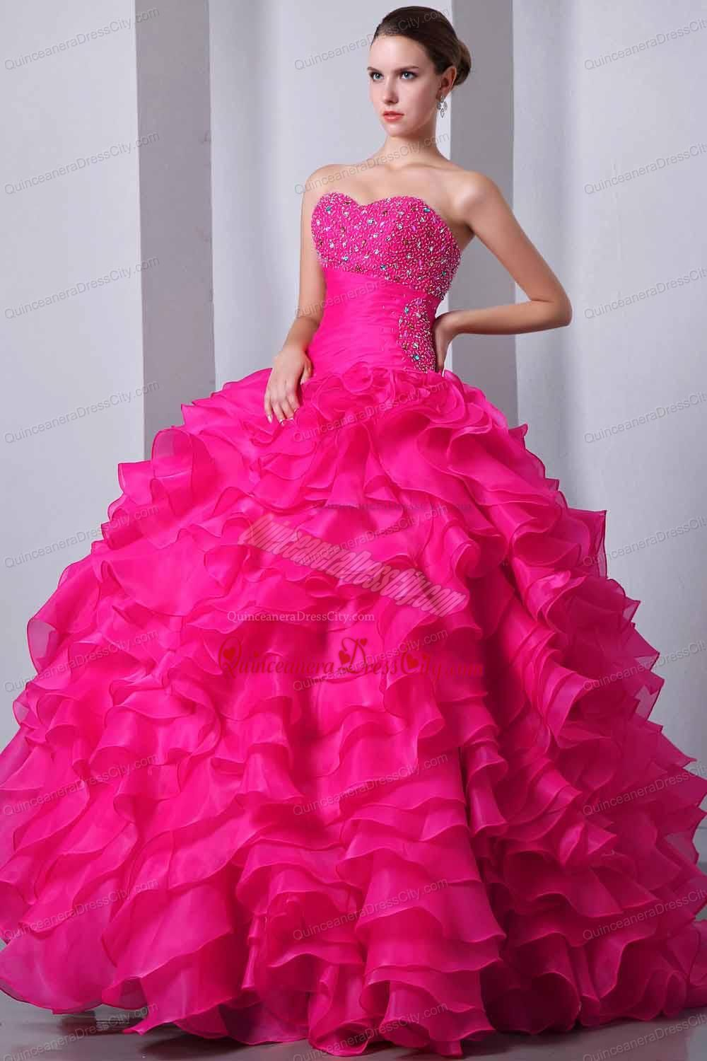 Hot Pink Ball Gowns Sweetheart Organza Beading and Ruffles ...