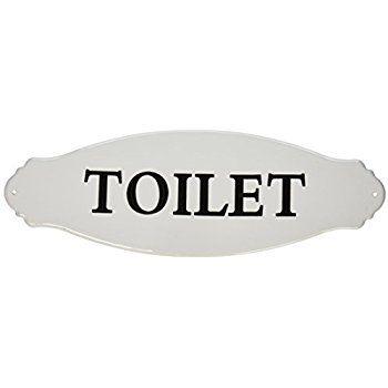 Amazon.com: Creative Co Op Enameled Metal Toilet Sign, White: Home