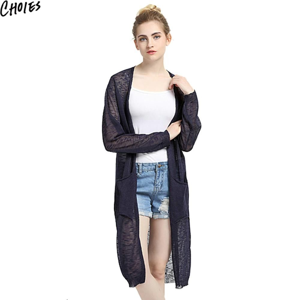 Women 5 Colors Semi Sheer Long Sleeve Knitted Casual Longline ...