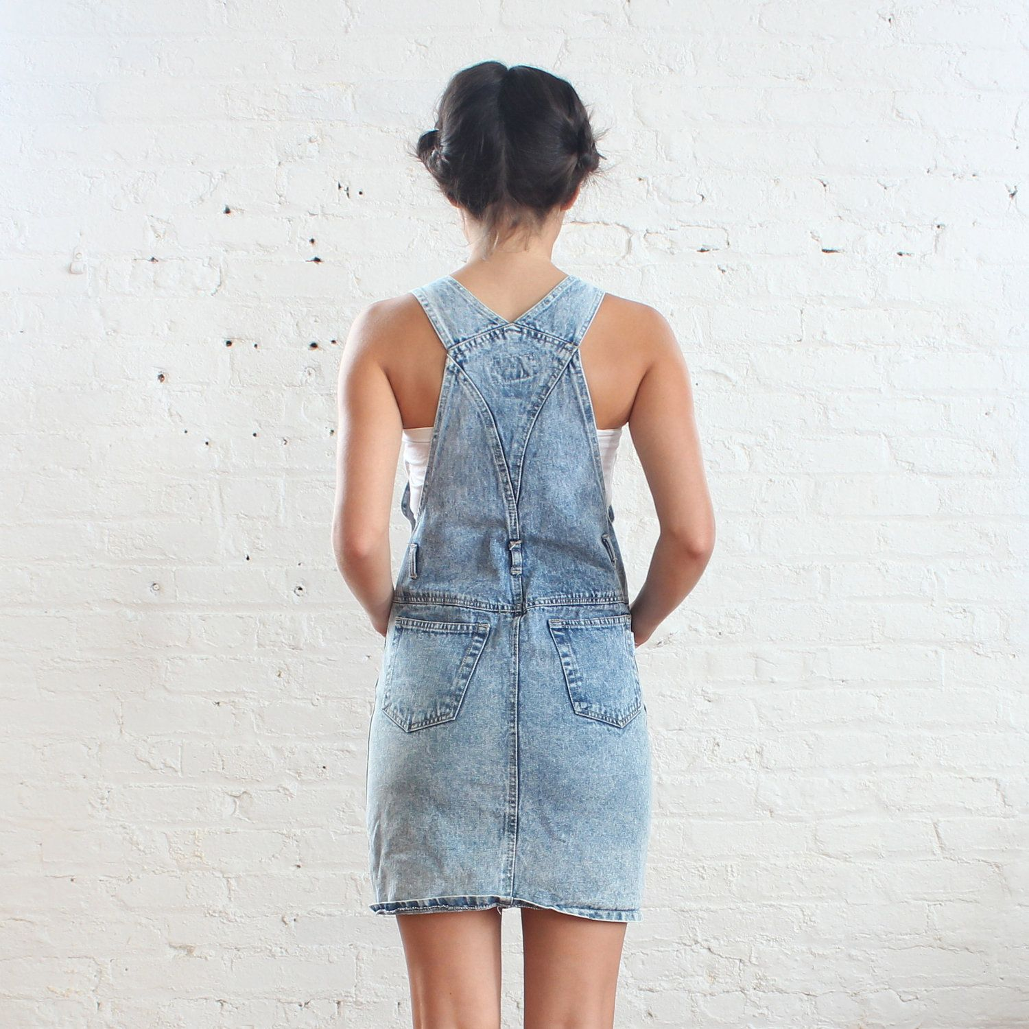 Woman in a Dungaree Dress Back