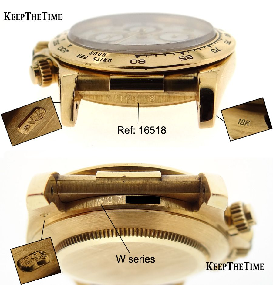 50051bc9dee Rolex 16518 Daytona 18K Gold Hallmark, Makers Mark, Assay, Serial Number,  and Refernce Number
