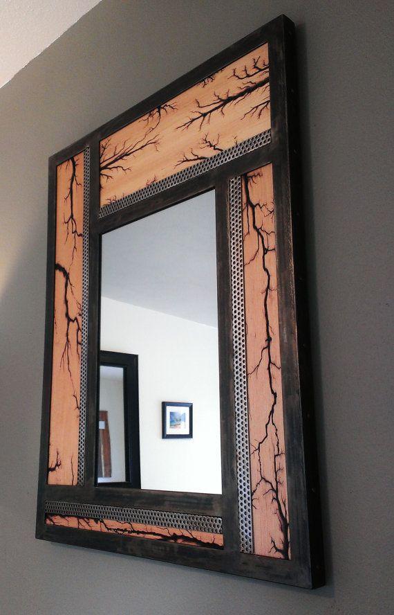 Metal Framed Wall Mirror With Lichtenberg Patterns Rustic Vanity