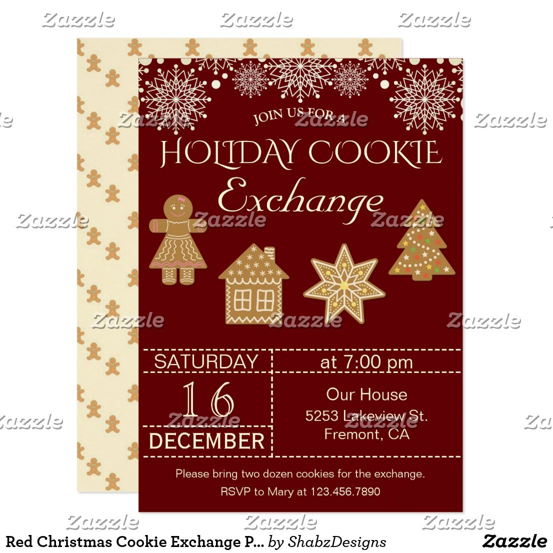 Red Christmas Cookie Exchange Party Invitation | Cookie exchange ...