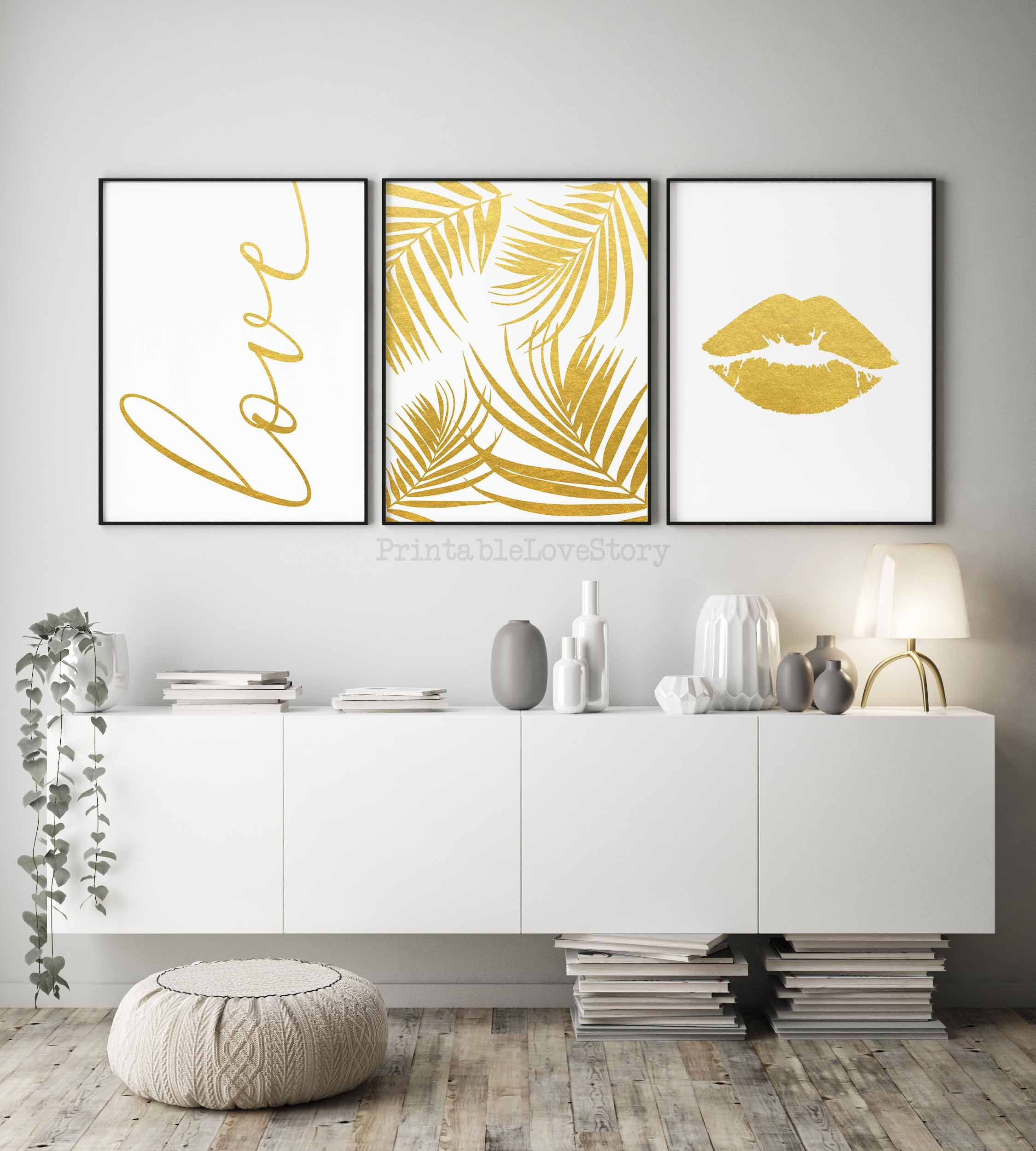 Gold Bedroom Decorgold Foil Printlove Posterset Of Etsy Gold Bedroom Decor Printable Wall Art Bedroom Printable Bedroom Decor