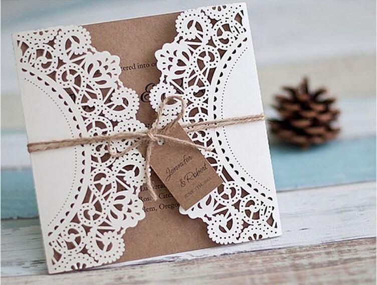Cheap 2015 Customized White Lace Wedding Invitations Vintage Invitation Cards Diy Set Of 50 As Low 9498 Also Buy Romantic