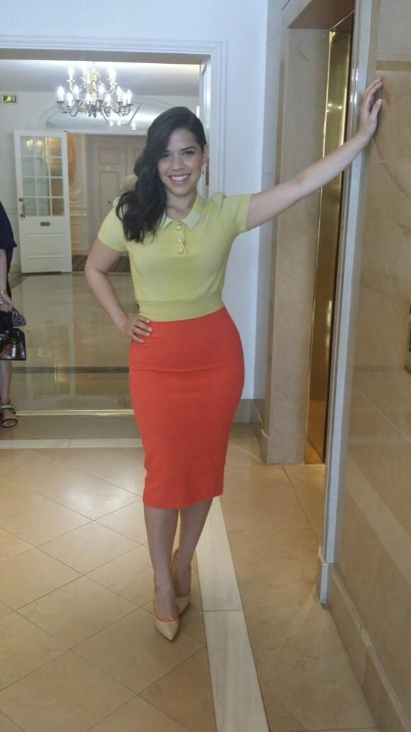 BTS: America Ferrera in Louis Vuitton this morning in Cannes. Styled by Karla Welch.