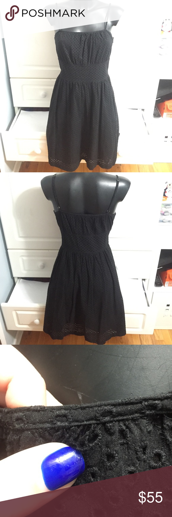 """Theory Black Eyelet Dress In good condition. 35.5"""" long. Has adjustable straps, a side zipper, and lining underneath. There is a small hole by the neckline which is a very easy fix (shown in picture 3) and has some minor discoloration under the armpits. Other than that, this dress is beautiful on. Make me an offer. Theory Dresses"""