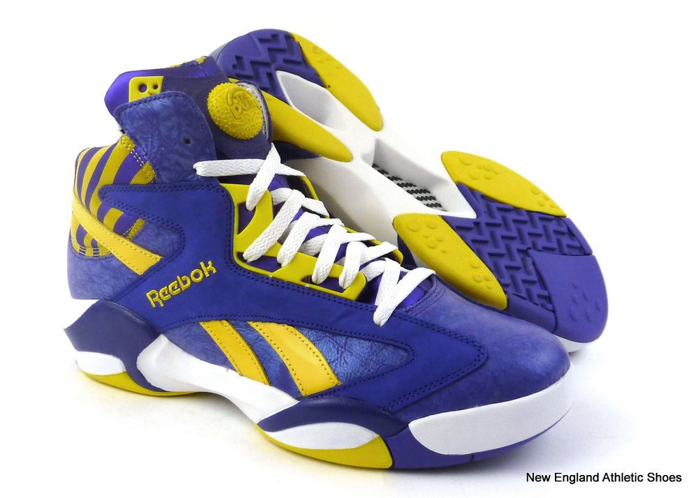 Reebok men Pump Shaq Attack basketball shoes - Team Purple   Yellow   White   160  Reebok  BasketballShoes 2fdb3c534