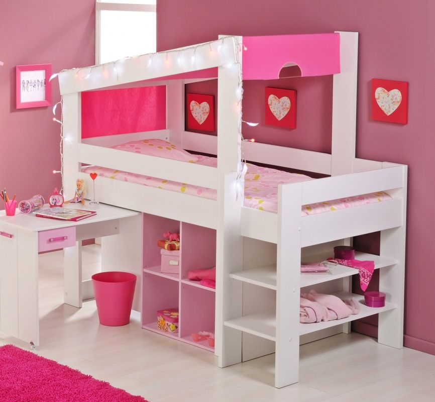 multifunktionsbett emely hochbett halbhoch kinder weiss rosa etagen und hochbetten. Black Bedroom Furniture Sets. Home Design Ideas
