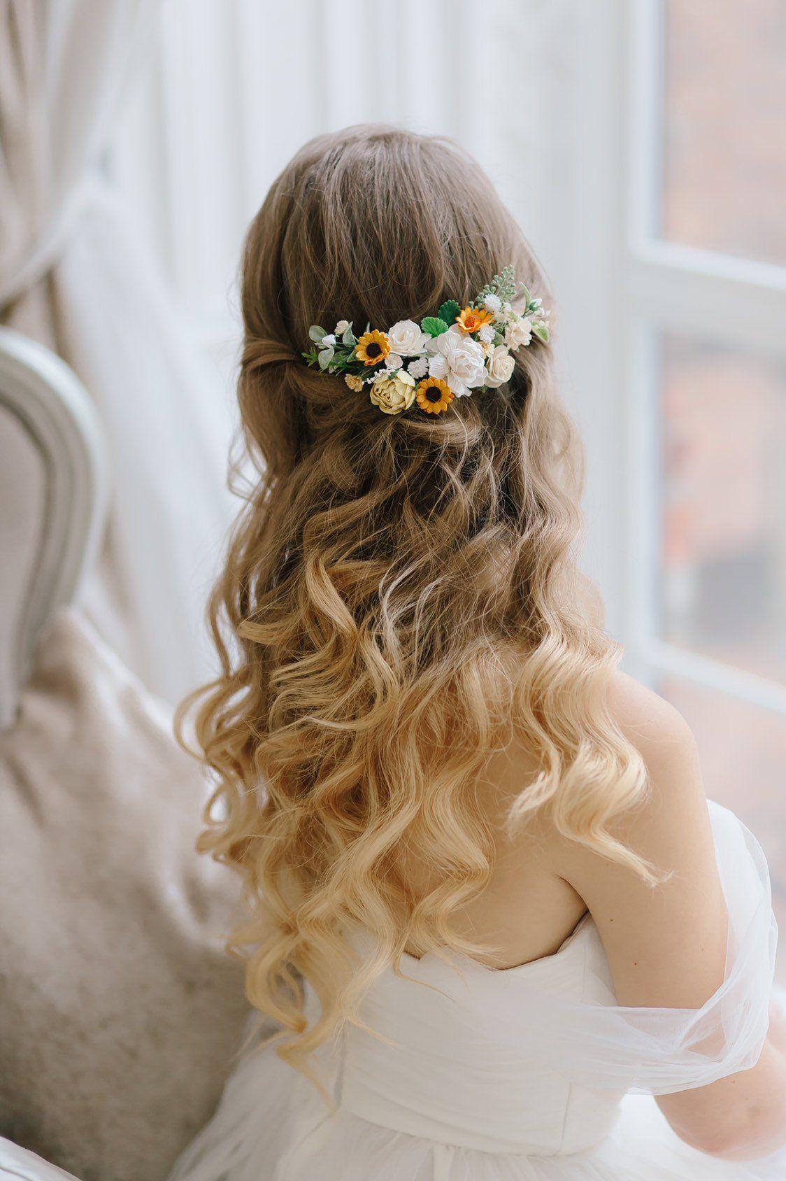 sunflower headpiece wedding, sunflower bridal hair piece