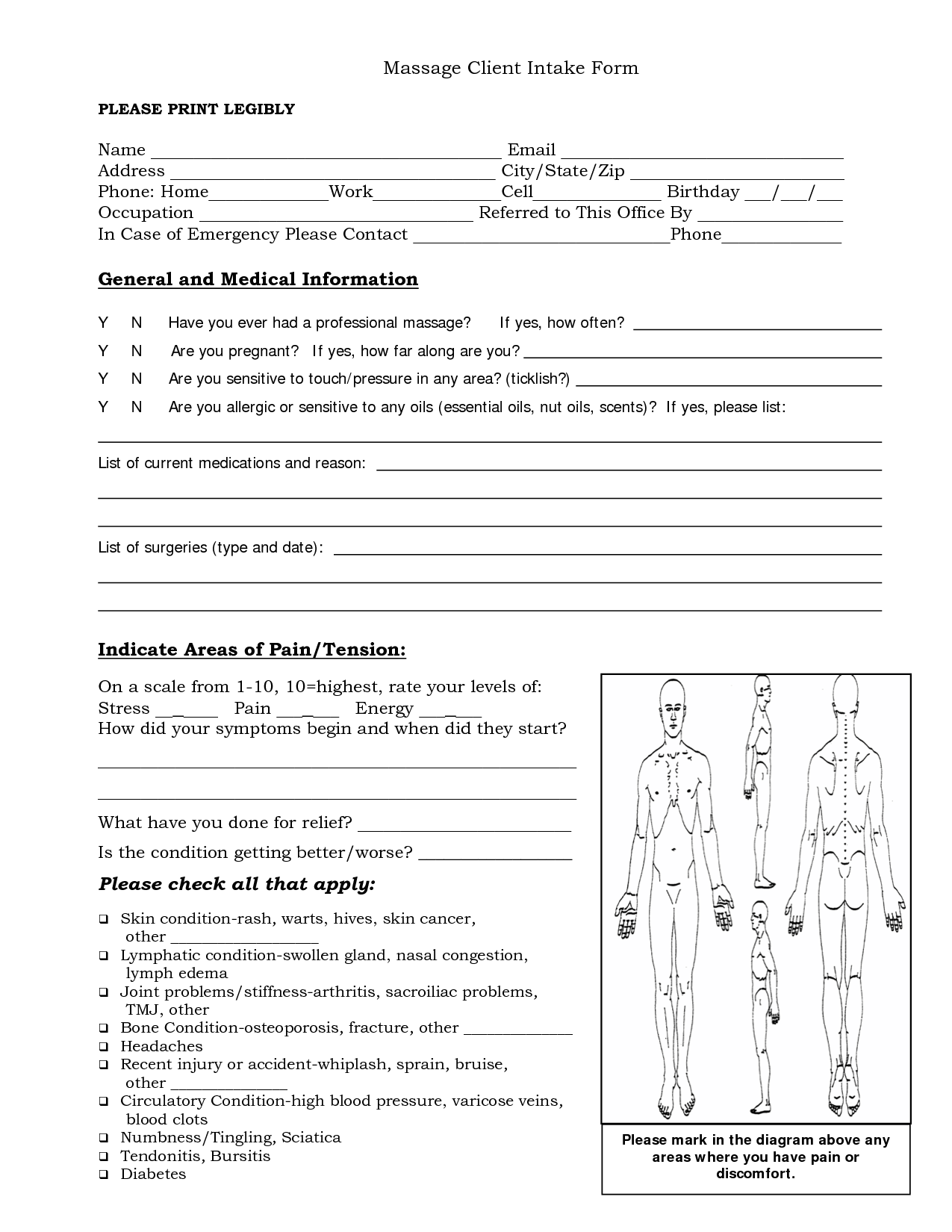 psychotherapy intake form template - free massage intake forms massage client intake form