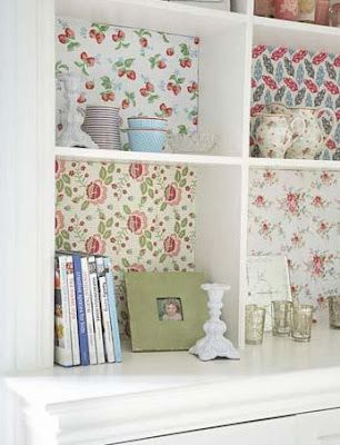 Wonderful Sweet Idea. Line The Back Of A Divided Space / Bookcase With Coordinating  Fabrics Or