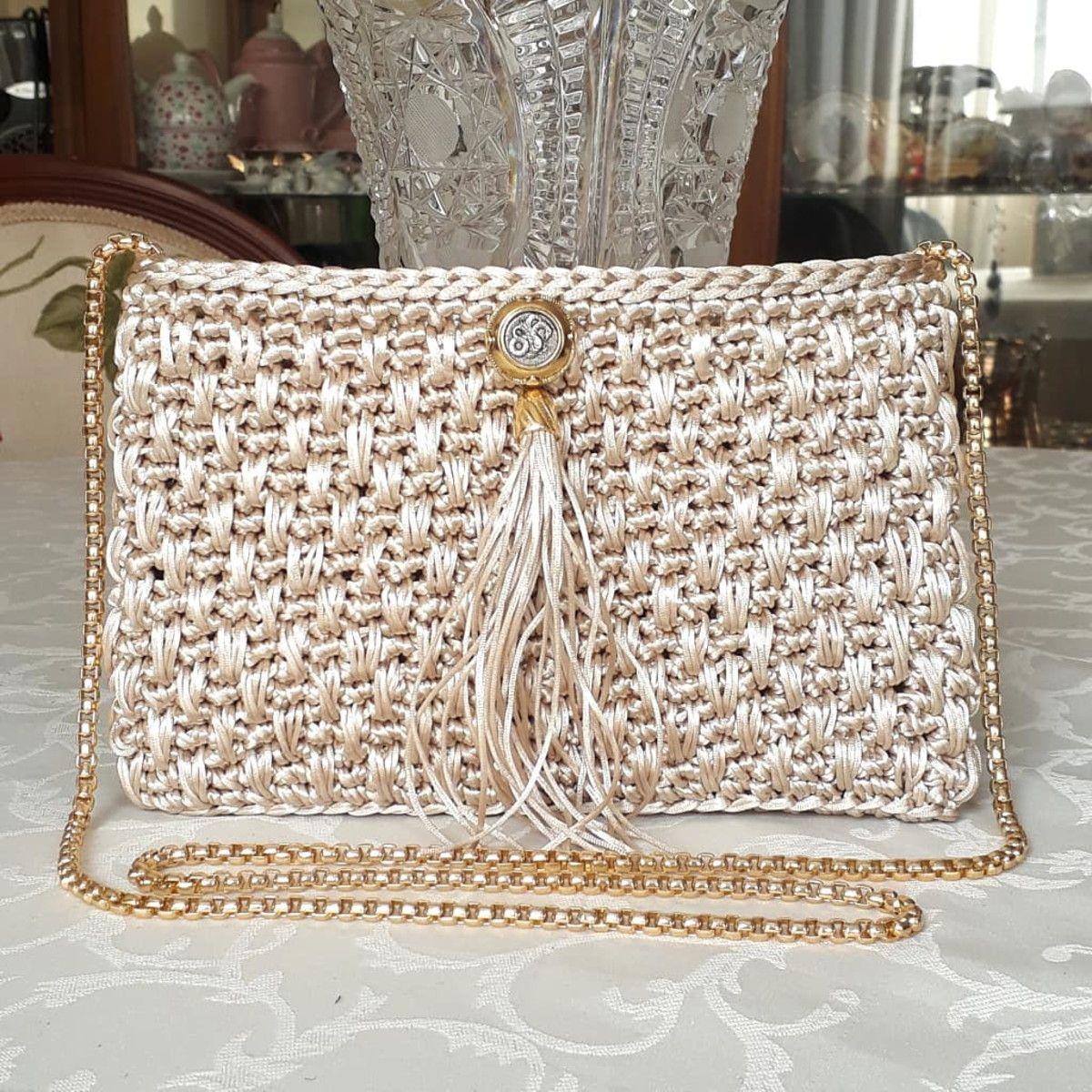 Paris Luxury Beige Hilo de seda Crochet Clutch / Clutch en Elo7 | M.Oliva (1 …