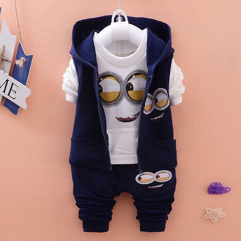 Vest Hoodie 3PCS Baby Boys//Girls Minion Clothing Set Long Sleeve Shirt Pants