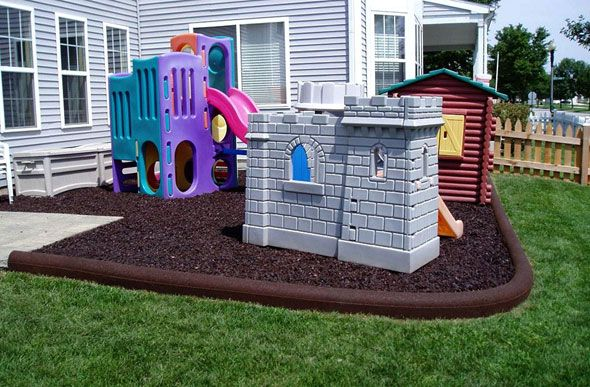 Rubber Timbers Playground Border Playground Backyard Landscaping Playground Landscaping Playground Flooring