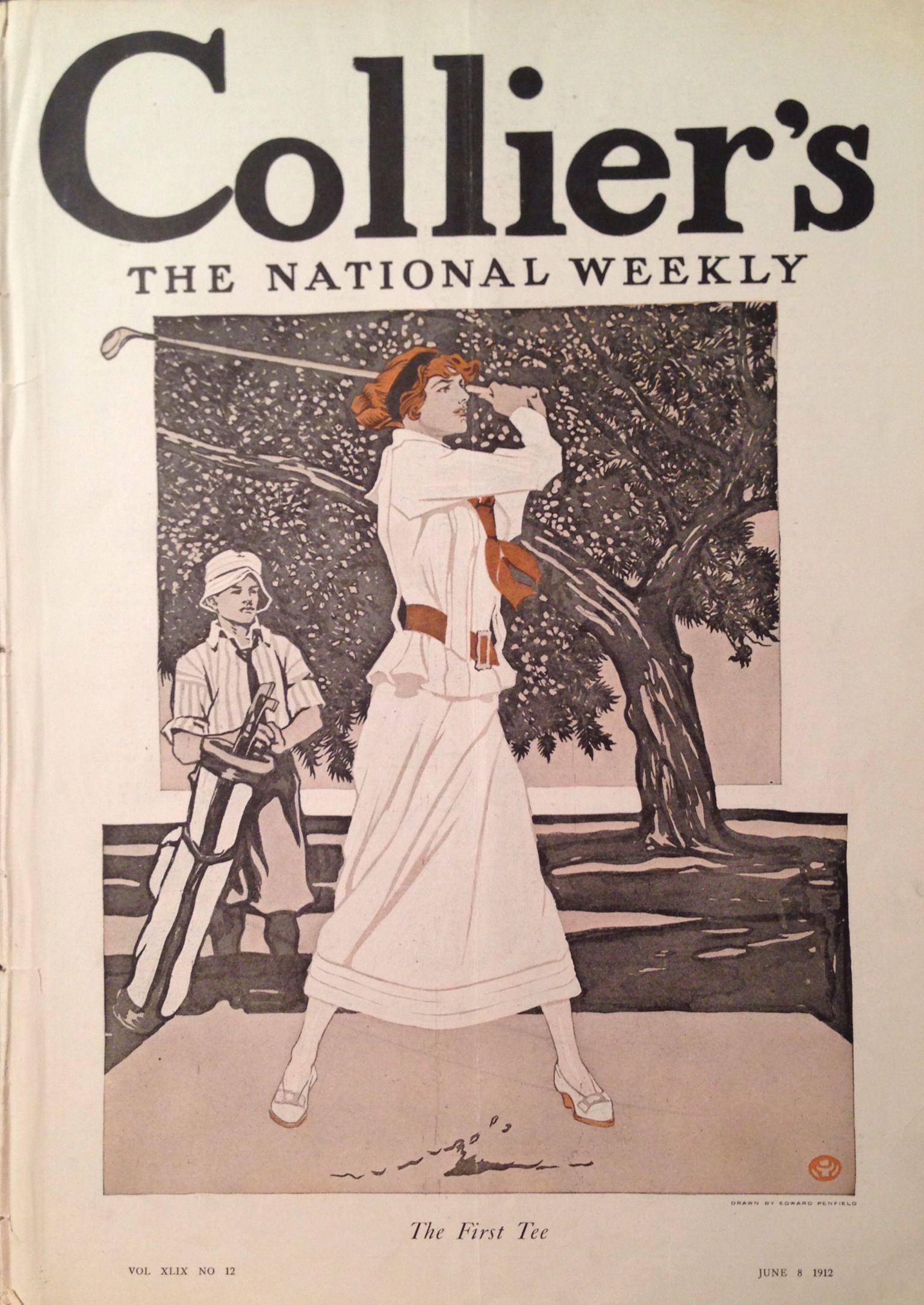 Collier's Magazine June 1912 Lady Golfer Cover Boston