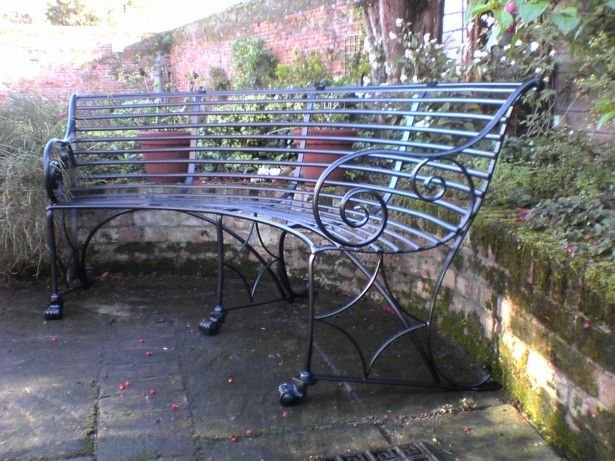 Exterior Cool Wrought Iron Curved Garden Bench With Back And Arms Design  Ideas Feat Natural Floor With Mossy Stone Border Curved Bench Designs As  Cozy And ...