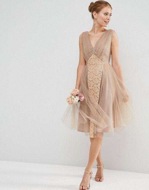 WEDDING Mesh and Lace Insert Midi Prom Dress