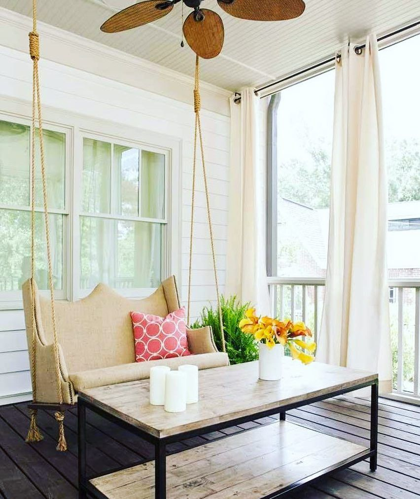 Installing a hanging swing and putting some decor on your porch