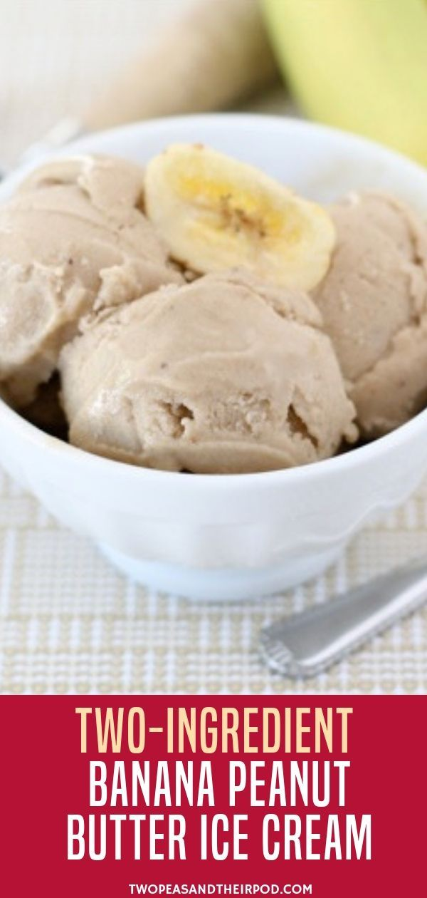 "How To Make Banana Ice Cream With Only TWO Ingredients! This Healthy Ice Cream Is A Favorite Dessert At Our House And It Is Good For You! You Will Love This ""Nice"" Cream! If you are looking for a new way to use up your ripe bananas, try this Two-Ingredient Banana Peanut Butter Ice Cream. The recipe is super simple to make and no one will ever know there are only two ingredients involved. #healthyicecream"