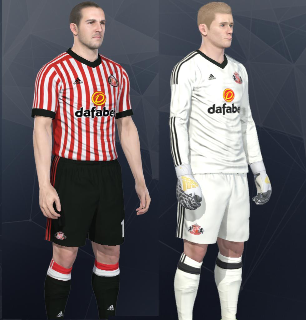 28635bbe47e Sunderland 17 18 Home and Goalkeeper Kits PES 2017