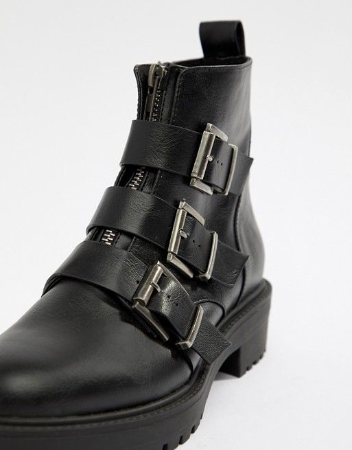437de63ab12b DESIGN Arco chunky multi buckle ankle boots in 2019