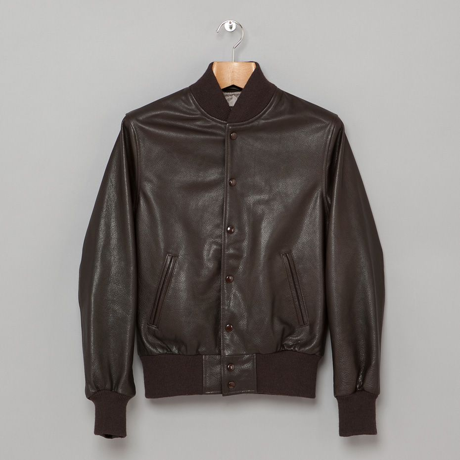Golden Bear All Leather Baseball Jacket in Dark Brown-classic | My ...