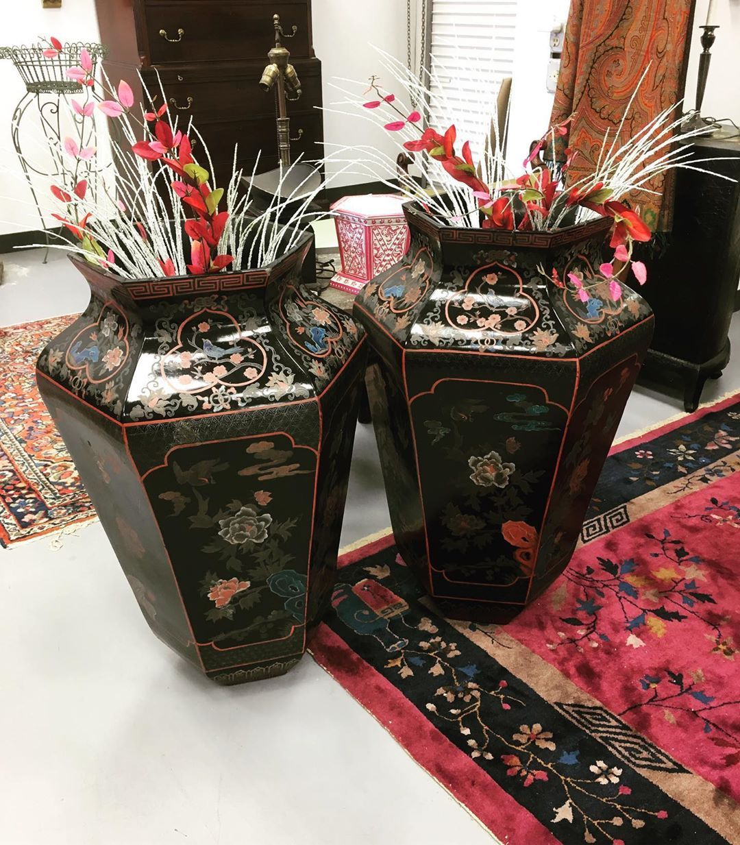 Pair Of Large Chinese Paper Mache Floor Vases
