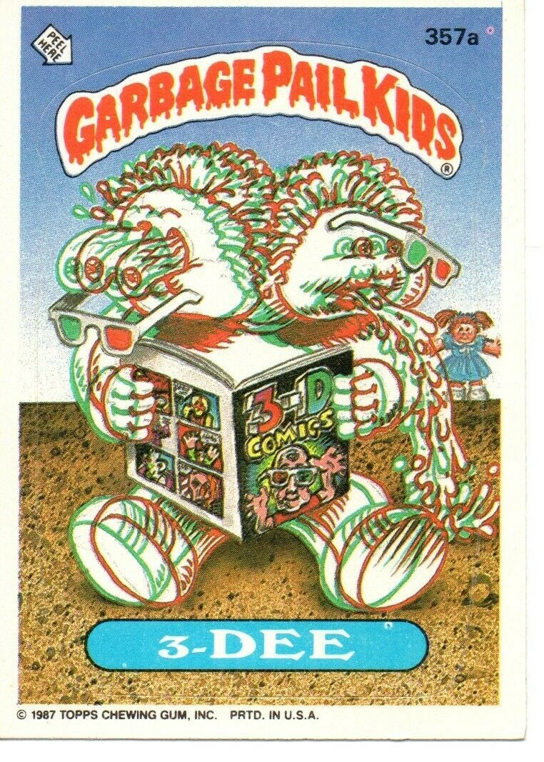 1987 Series 9 Topps Gpk Garbage Pail Kids 357a 3 Dee Garbage Pail Kids Cards Garbage Pail Kids Garbage