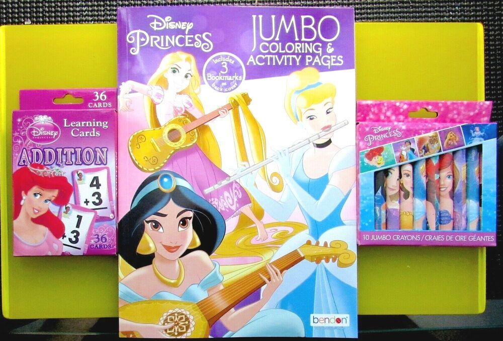 Disney Lot Princess Jumbo Coloring Book Activity Crayons Learning Cards Addition Color Activities Learning Cards Book Activities