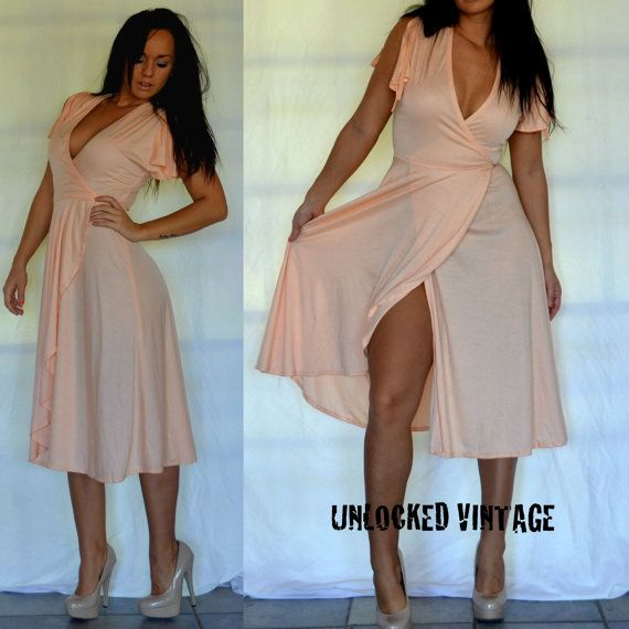 Vintage 70s Peach Disco Wrap Dress Deep V Front By Unlockedvintage
