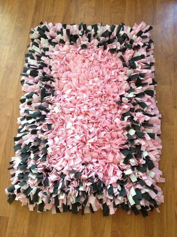 pink and gray fleece rag rug 35 x 27 shaggy soft by customragrugs