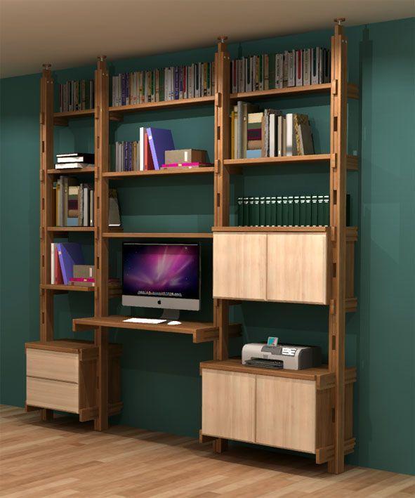 bibliothèque bureau modulable (50/90/70) - flex | agencement d