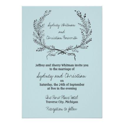 Vintage Laurel Simple Design Wedding Invitation