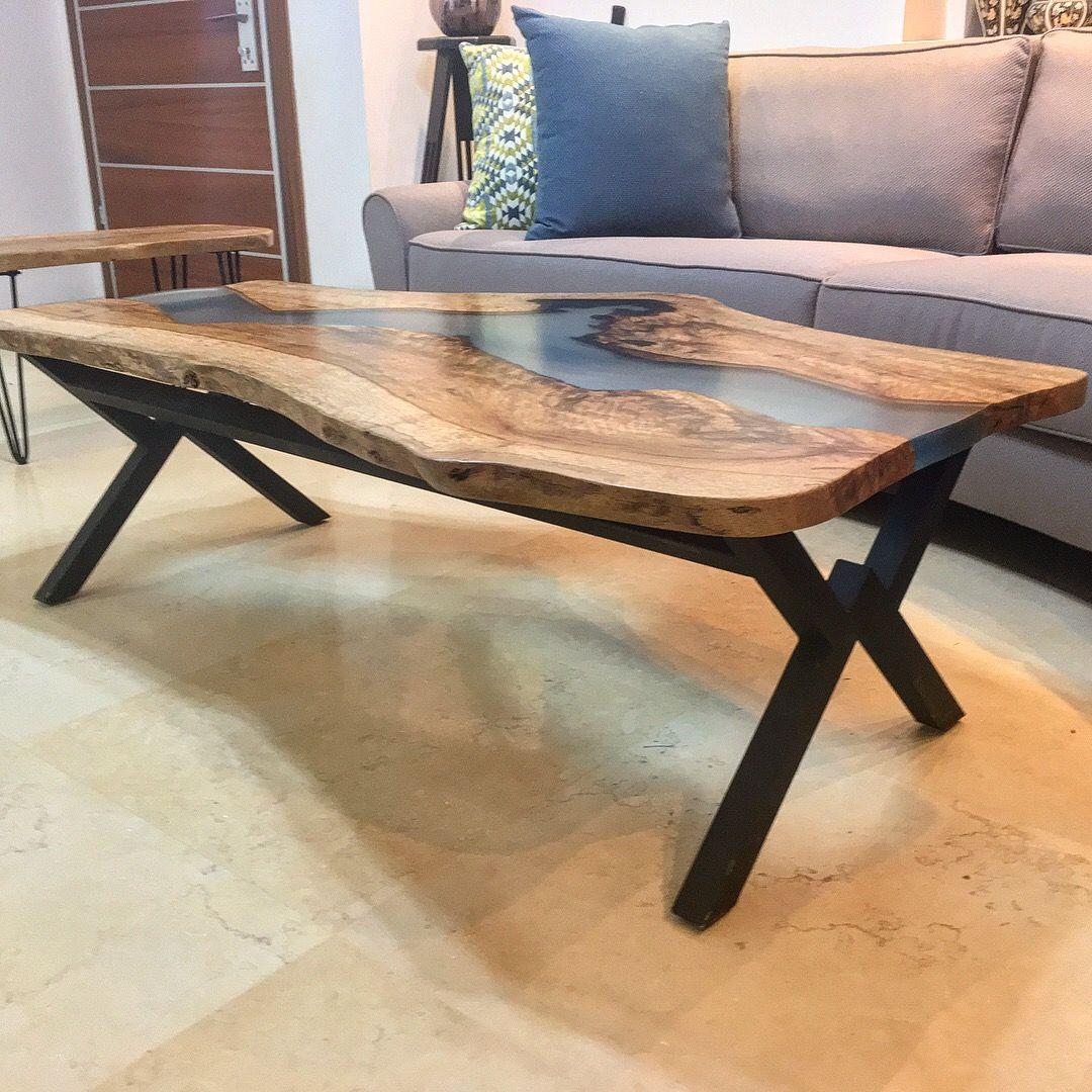oak slab epoxy coffee table river