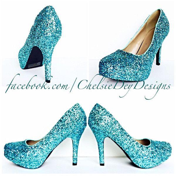 d48e32274e Robins Egg Blue High Heels Glitter High Heel Closed Toe Pumps Aqua... ($72)  ❤ liked on Polyvore featuring shoes, pumps, light blue, women's shoes, light  ...