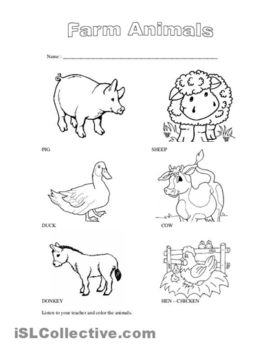 animals on the farm worksheets for kindergarten Google