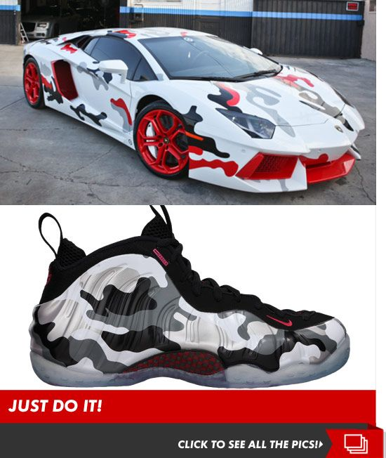 Chris Brown Lambo Nike inspired camo Foamposite paint job
