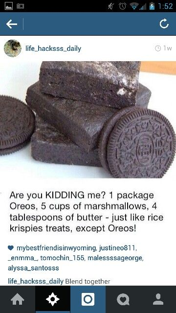 Oreos, marshmallows, and butter.